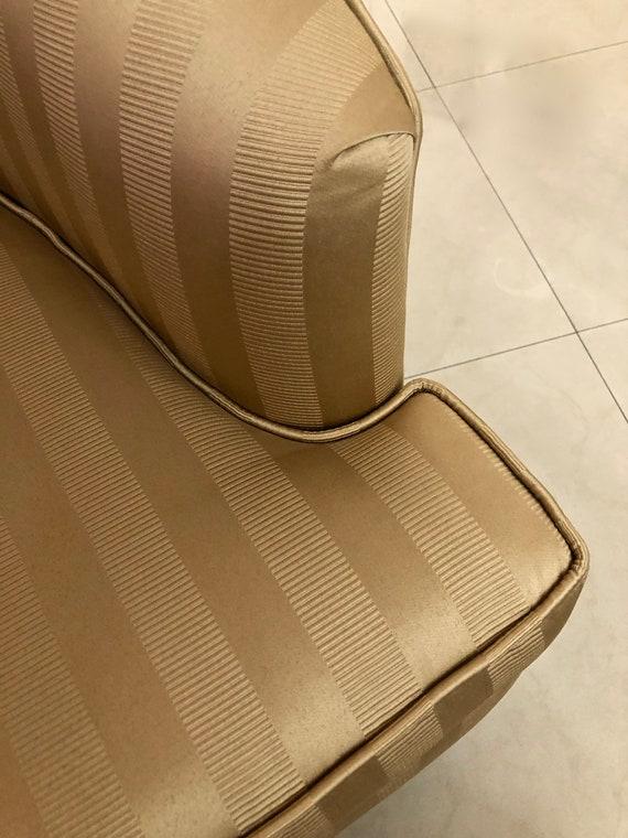 Amazing Mcm Swivel Barrel Chair Milo Baughman Style Hollywood Regency Vintage Mid Century Modern Chair Reupholstered In Gold Stripe Jacquard Fabric Evergreenethics Interior Chair Design Evergreenethicsorg