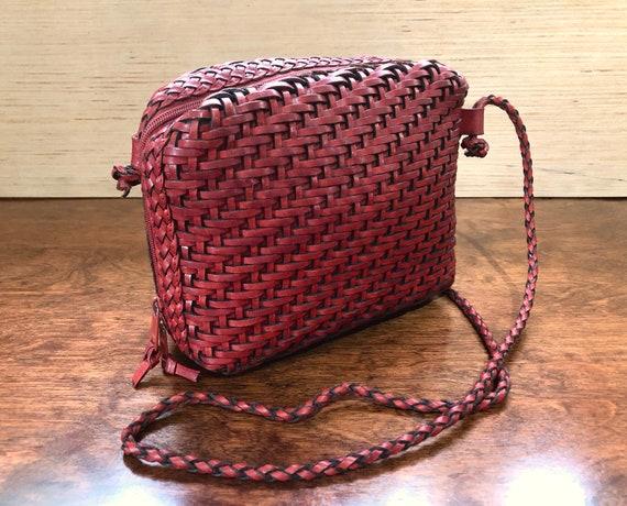 Vintage Brick Red Woven Leather Purse Shoulder Bag
