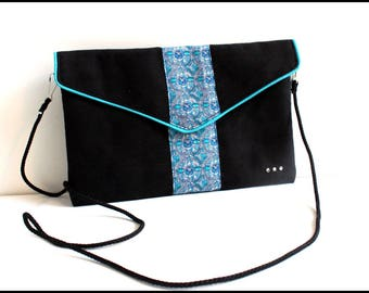 """Bag """"Sophie"""" Black Suede and turquoise fabric"""