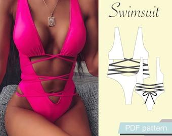 Swimsuit pattern xs/32, xs/34, s/36, s/38, m/40, m/42, l/44, xl/46. Sewing pattern & tutorial. Bikini pattern. PDF patterns for women