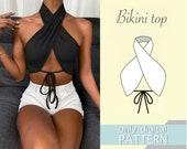 Bikini top pattern xxs xs s m l xl xxl xxxl. Sewing pattern. Bikini pattern. PDF sewing patterns for women. Women top pattern.