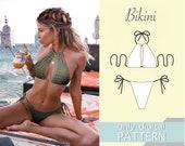 Bikini pattern xxs xs s m l xl xxl xxxl. Sewing pattern. Swimsuit pattern. PDF sewing patterns for women.