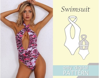 Swimsuit pattern xxs/xxs/xs/s/m/l/xl/xxl. A4 format. Sewing pattern. Swimsuit pattern. PDF sewing patterns for women.