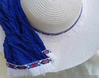 51661e06bb281a Floppy beach hat and scarf, Wide brim hat for women, Hats for women, White beach  hat for women