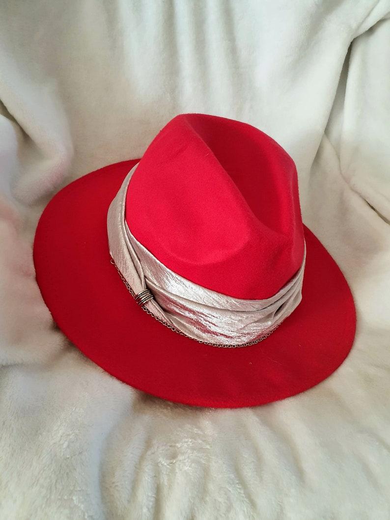1d2f7f6cf9ef3 Red fedora hat for woman Wool wide brim winter fedora Women