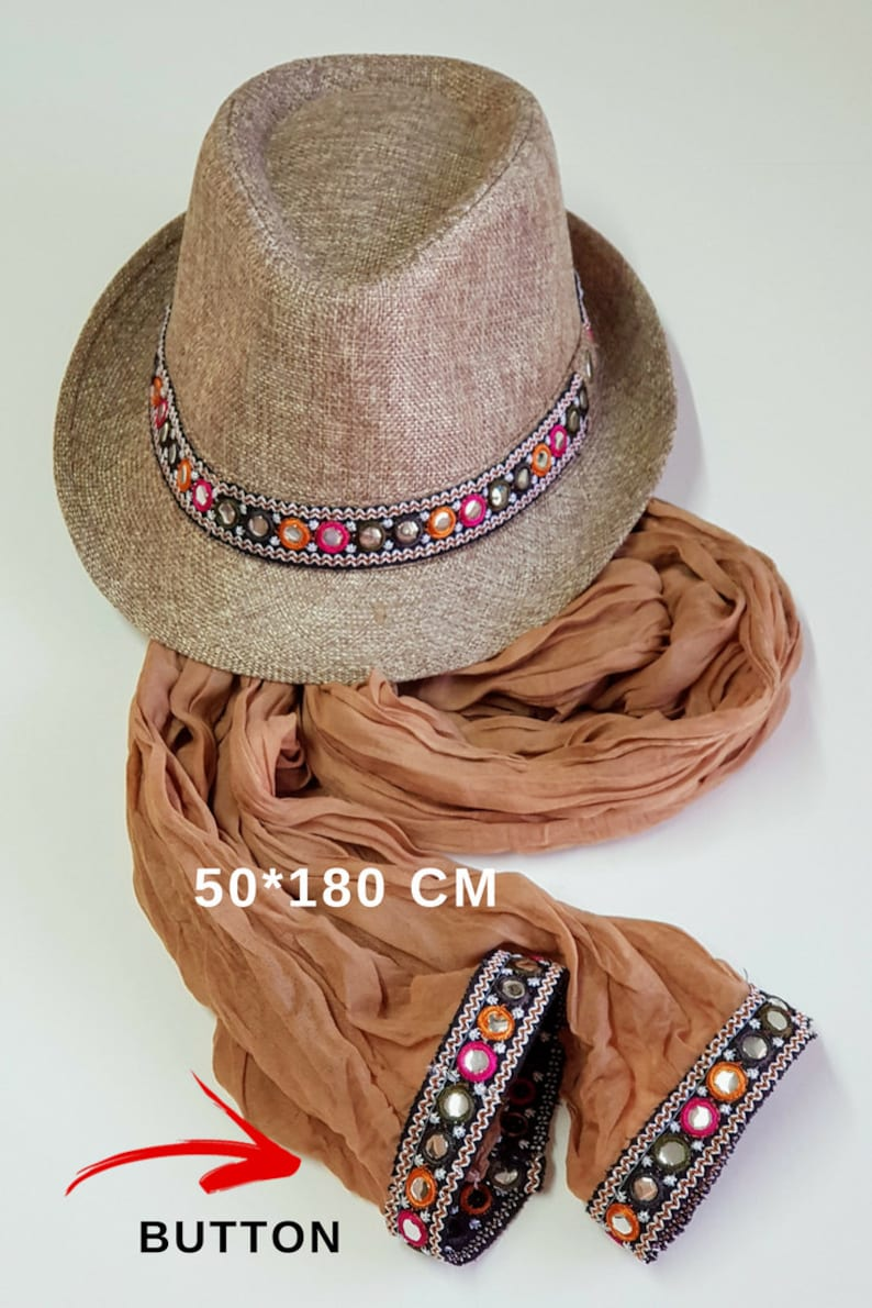 Women fedora hat Beach women hat Gift for her Bohemian fedora hat Straw hat Women hat Brown SET hat and scarf