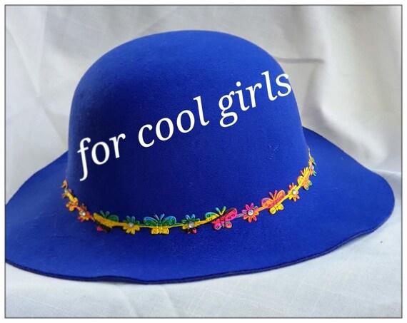 Royal blue winter wide brim hat for girls Felt hat  1b5ea2922b2