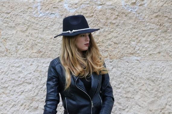 Fedora hats for women Black snake wool felt hat fedora top  d29591c860b