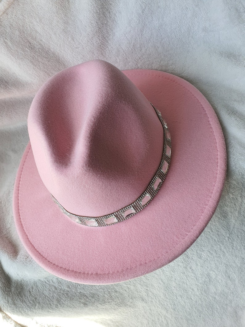 Felt hat for woman Hat for women Pink fedora hat for woman Wide brim designed fedora hat Wool hat for woman