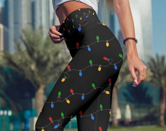 2a3387b9e2b70 Christmas Light Leggings Christmas Pattern Christmas Yoga Pants Black  Holiday Outfit Christmas Tree For Girls and Women - Regular,High Waist