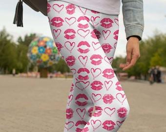 c196cdccba5f17 Valentines Day Leggings Valentine Yoga Pants Kiss Mark Pink Outfit Heart  Lip Print Leggings For Girls and Women - Regular,High Waist,Capri,S