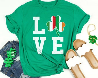 69d1a6bb Italian Irish Flag Love Shamrock St Patrick's Day Shirt Green Saint  Patricks Day Shirt For Women And Men Short-Sleeve Unisex T-Shirt