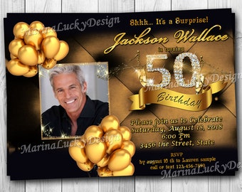 50th Birthday Invitation Black Gold And Diamonds Invite For Men Man With Photo