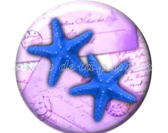 1 cabochon 25mm round glass vacation, beach, starfish, shell