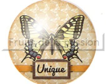 1 cabochon 25mm round glass, butterflies, animals, yellow