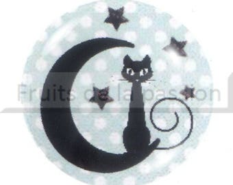 1 cabochon celestial, Moon and stars round glass 30mm