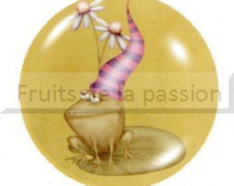 1 cabochon 25mm round glass, animals, yellow frog