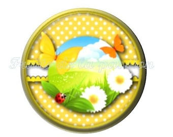 1 cabochon 25mm, nature, trees, spring, summer, round glass
