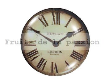 1 cabochon 25mm round glass clock cream