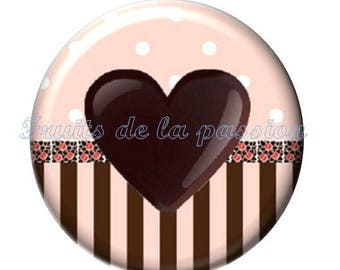 Set of 2 cabochon 20mm round glass, chocolate treats.