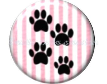 1 round cabochon 30 mm, animals, cat, pink