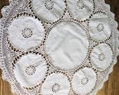 Round linen crochet tablecloth