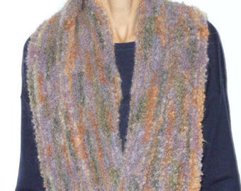 Snood multicolor predominantly purple, crocheted