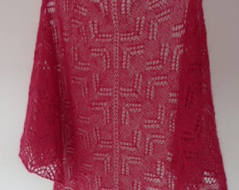 Red, Lacy shawl, mohair, hand knitted