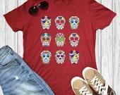 Dia de Los Muertos Skeleton Shirts Day of the Dead Halloween Skull Gift Shirts Unisex T-shirt