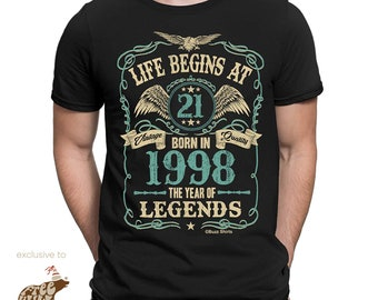 700671ebc Life Begins at 21 Mens Birthday T-Shirt