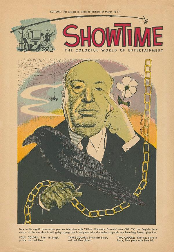 The Alfred Hitchcock Hour (1962–1965) trade magazine ad by Robert M. Thompson, 1962, via VintageTVArt,com.