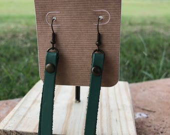 Leather Strip Earrings - Teal