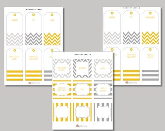 Gray & Mustard Yellow Printable Nursery Label Collection