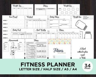 Fitness Planner Printable, Health Planner, Fitness Journal Printable, Workout Log, Food Diary, Calorie Tracker, Daily Weight Loss, Exercise