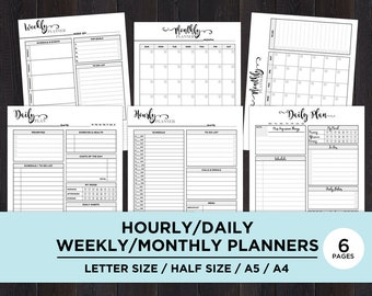 Weekly Planner Printable Hourly, Daily Weekly Monthly Planner Printable Insert, Half Size Planner Inserts, A4, A5, Half Size, Letter