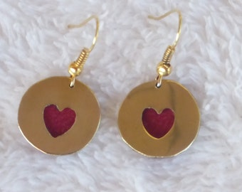Heart brass and leather earrings