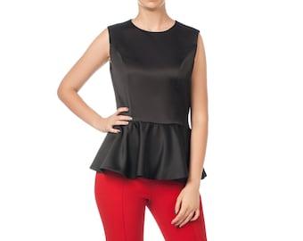 Black satin blouse Blouse with basque Designer blouse Stylish blouse Fashionable blouse Original blouse Exclusive blouse Evening blouse