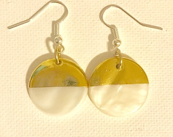 Gold Dipped White Circle Earrings