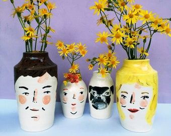 Custom portraits/ Family portraits, hand painted ceramic vases with faces