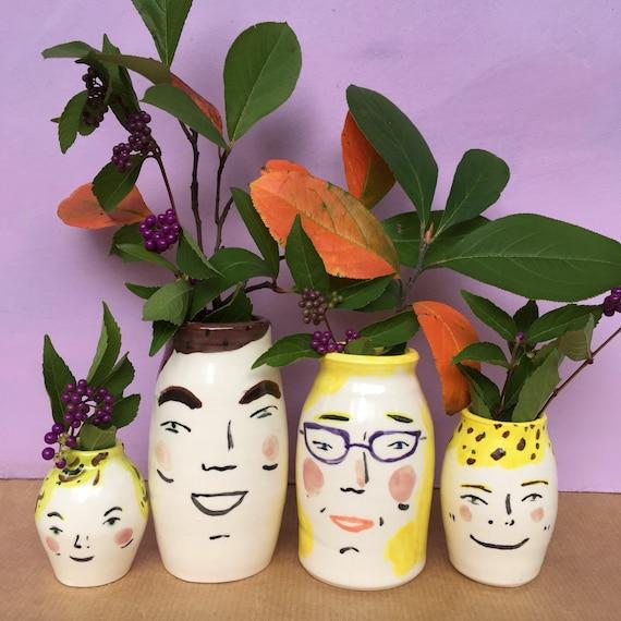Custom Portraits Family Portraits Hand Painted Ceramic Vases Etsy