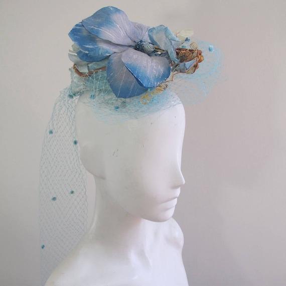 Vintage 40s Blue Floral Hat