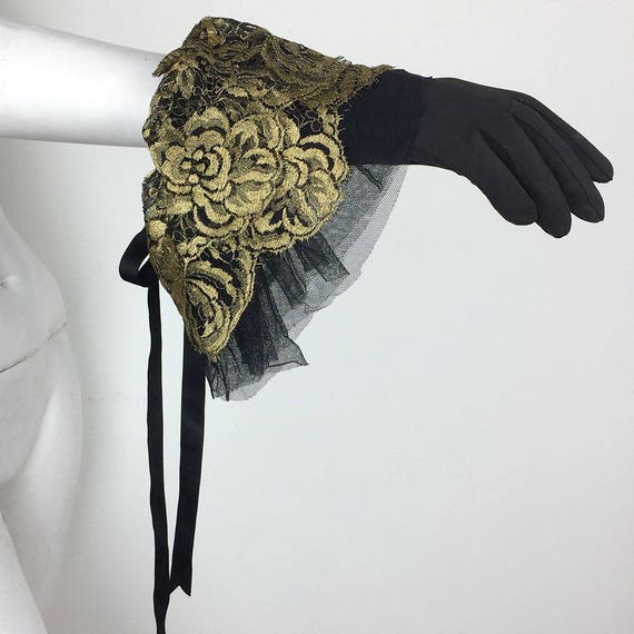 Vintage 1980s Gold Lace and Tulle Ruffle Gloves