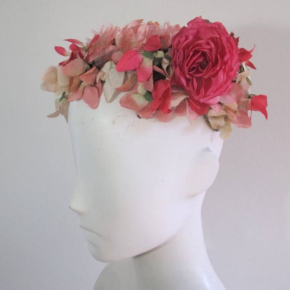 Vintage 1940s Floral Pillbox Hat