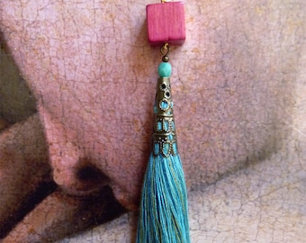 Turquoise tassel, fuchsia cube earrings