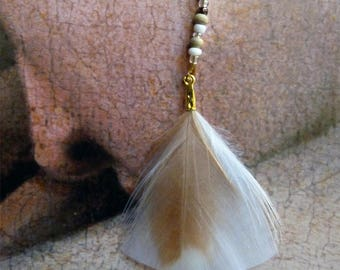Earrings feathers pastels and gold-plated