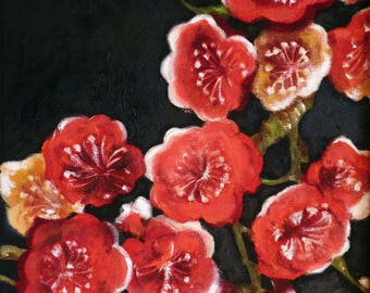 Oil on canvas with red cherry blossom