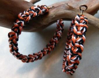 Black White orange braided hoop earrings
