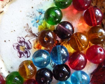 Set of multicolored vintage glass beads