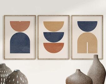Geometric Art Print Set of 3, Mid Century Modern Art, Geometric Wall Art, Semicircle Shapes, Digital Abstract Terracotta Navy Blue Art