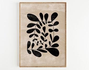 Abstract Botanical Print, Minimal Printable Wall Art, Abstract Leaves Art, Black Beige Botanical Digital download Wall Art Mid century